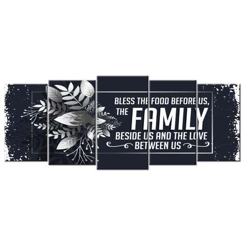 Bless The Food Before Us (Canvas Wall Art 5 Panel (72x32))