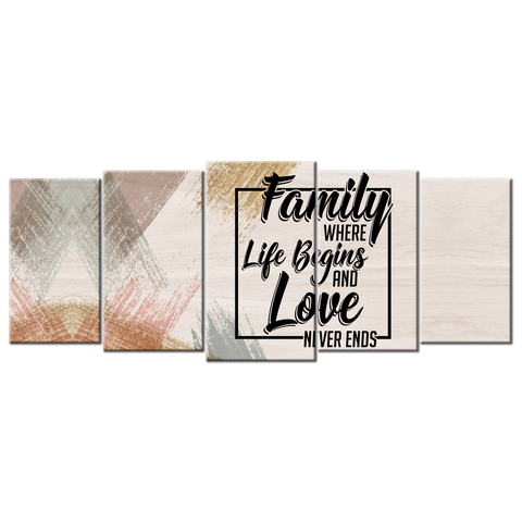 Family Where Life Begins And Love Never Ends (5 Panel Canvas Wall Art (72x32))