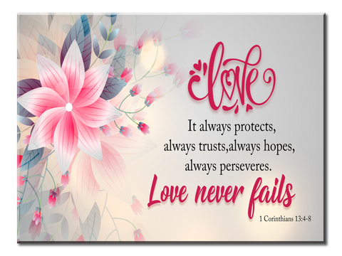 Love Never Fails (5 Panel Canvas Wall Art 72x32)