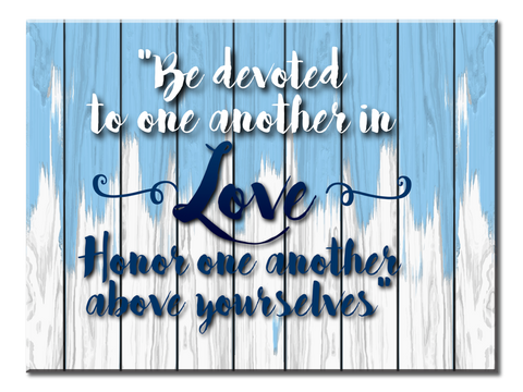 Be Devoted to One Another (Single Panel Canvas Wall Art (Blue) 40x30)
