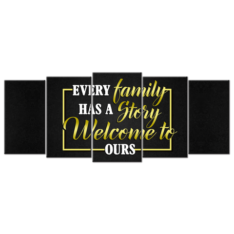 Every Family Has A story (5 Panel Canvas Wall Art 72x32)