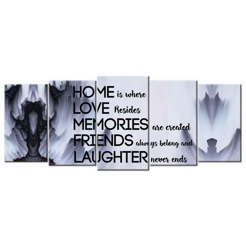 Home is where Love resides (5 Panel Canvas Wall Art 72x32)