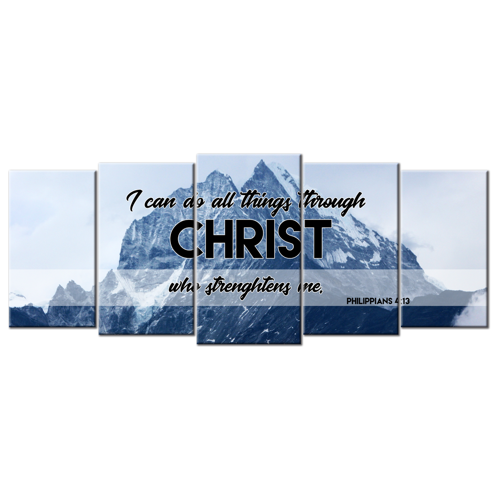I can do all things through Christ (5 Panel Canvas Wall Art 72x32)