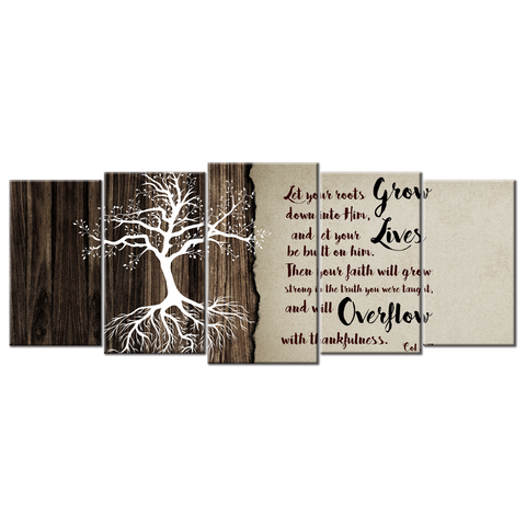 Let Your Roots Grow (5 Panel Canvas Wall Art 72x32)