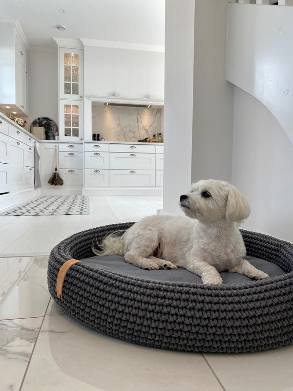 Lukko Dog Bed-Grey-Lifestyle
