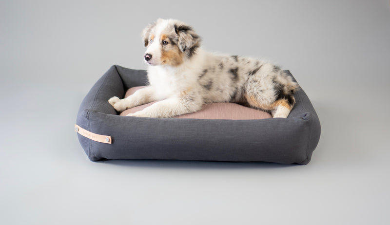 Labbvenn-Stokke Grey-Pink-Dog Bed-Puppy