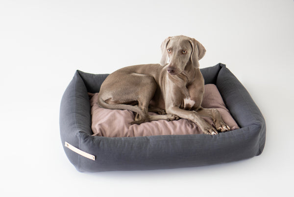 Labbvenn-Stokke-Dog Bed-Grey-Pink_Lifestyle 2