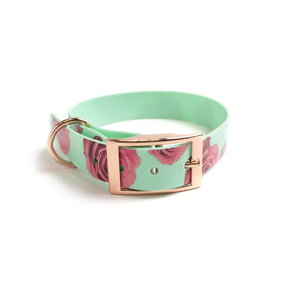 Seafoam waterproof dog collar-flower