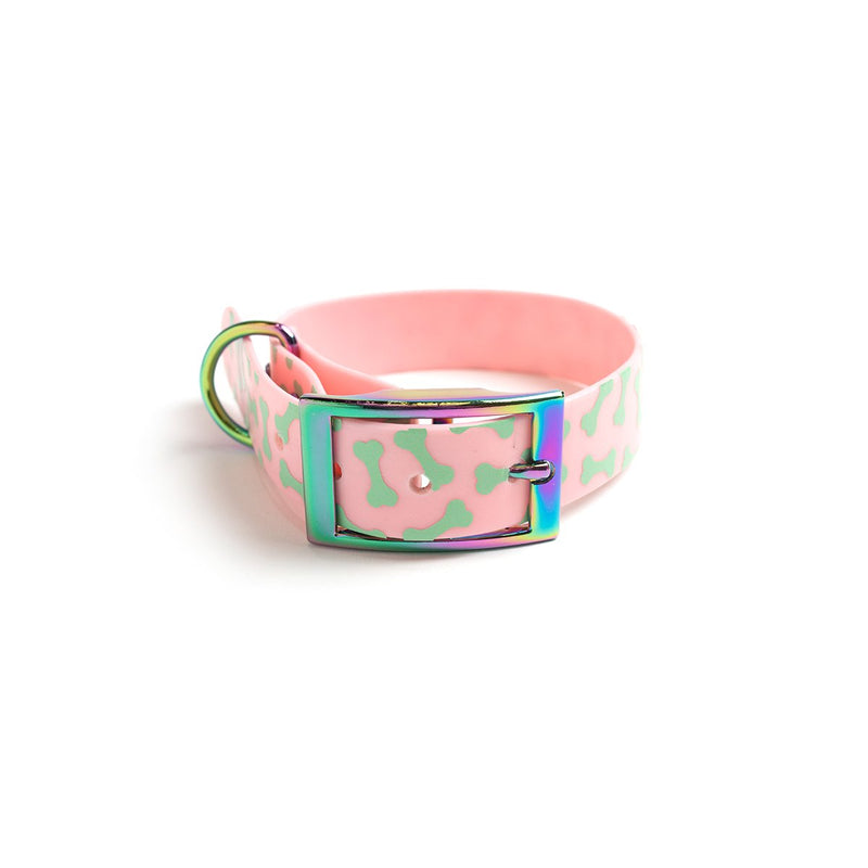 Think Pink Waterproof Dog Collar-Bones