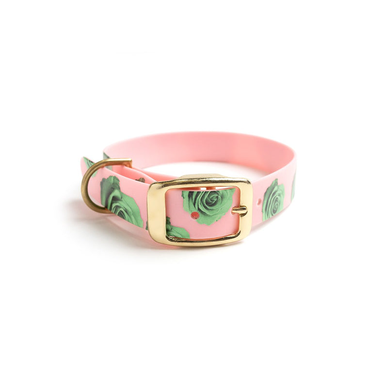 THINK PINK DOG COLLAR-GREEN ROSE