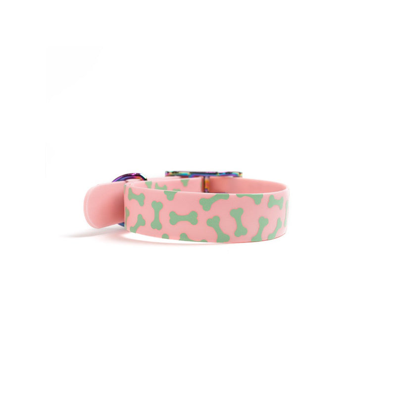 Think Pink Waterproof Dog Collar-Bones back