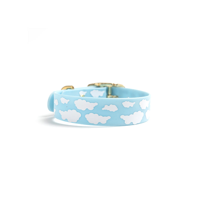 Something Blue Dog Collar Clouds back