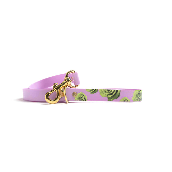 Miami Sky Waterproof Dog Lead-green rose