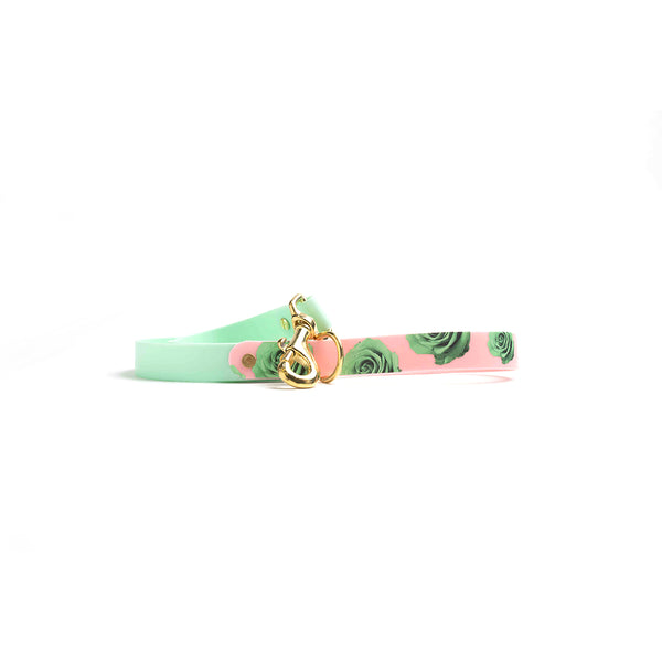 Seafoam Waterproof Dog Lead-Green Rose