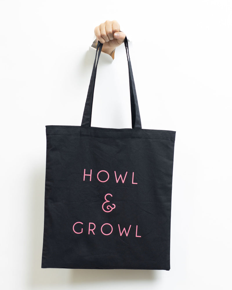 Howl & Growl Black tote bag
