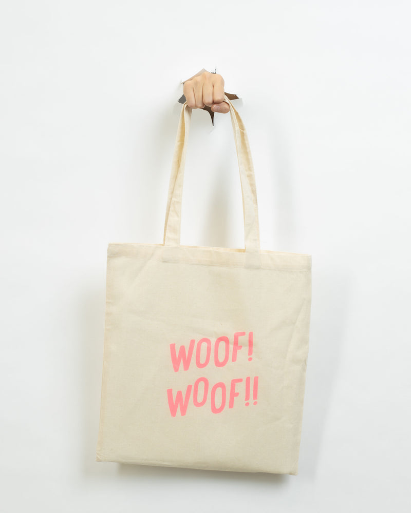 Howl & Growl Cream Woof Tote Bag