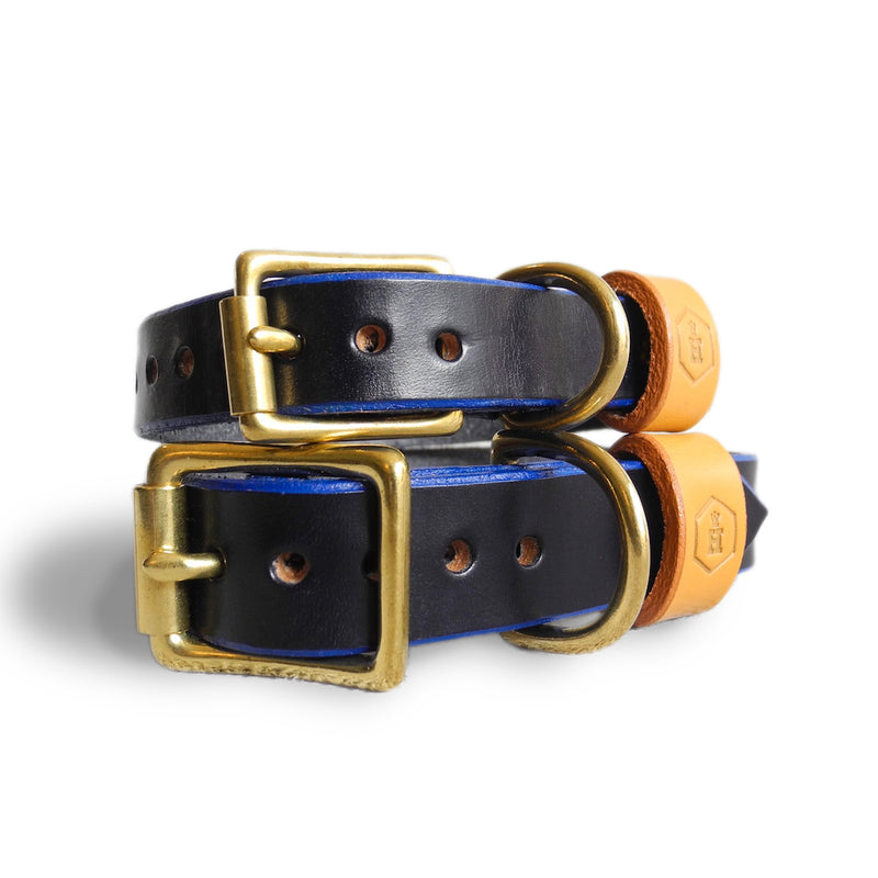 London Series Leather Dog Collar-Blue