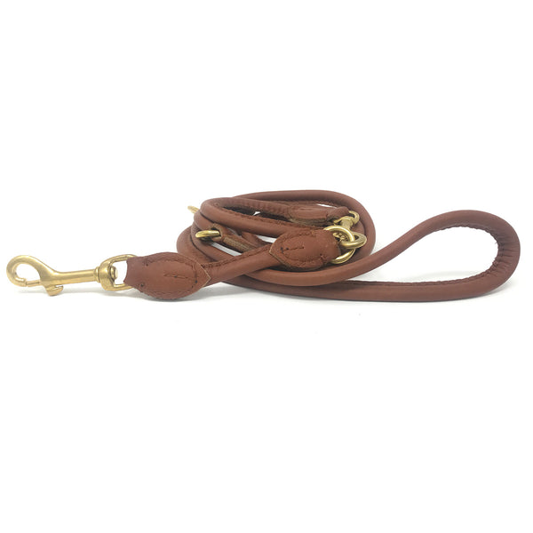 Vintage Tan Nappa Leather Adjustable Lead