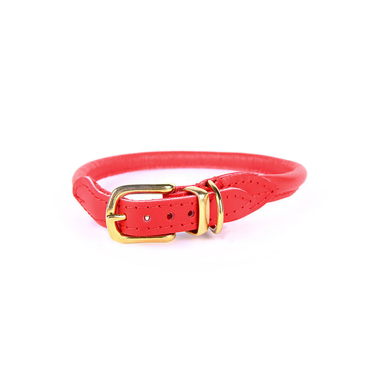 Nice Digs - Stevie Red Leather Dog Collar