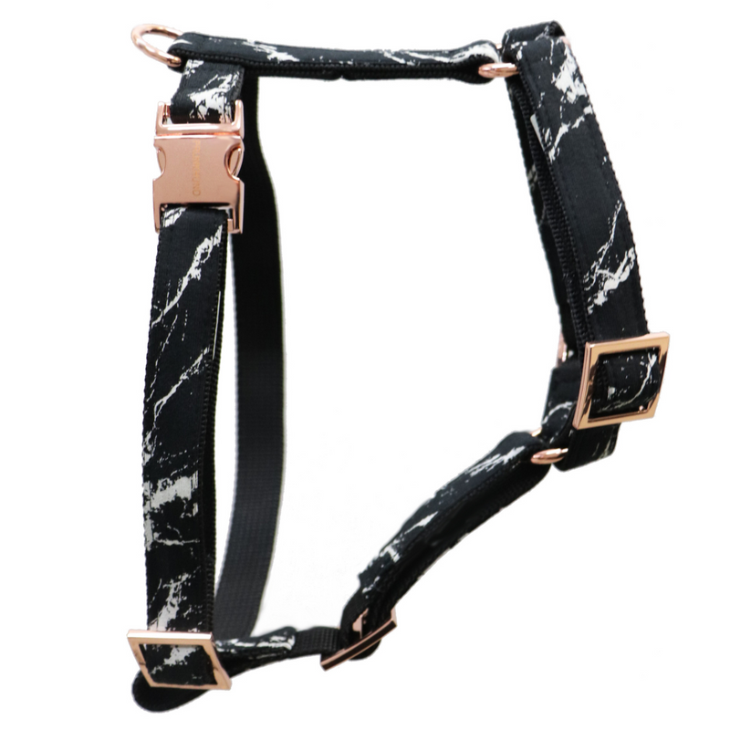 Black Marble Dog Harness
