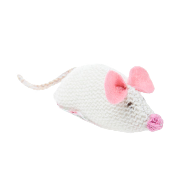 Mungo & Maud-Knitted Mouse Cat Toy-White