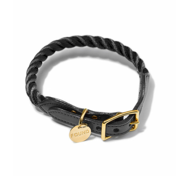 Black rope and leather dog collar