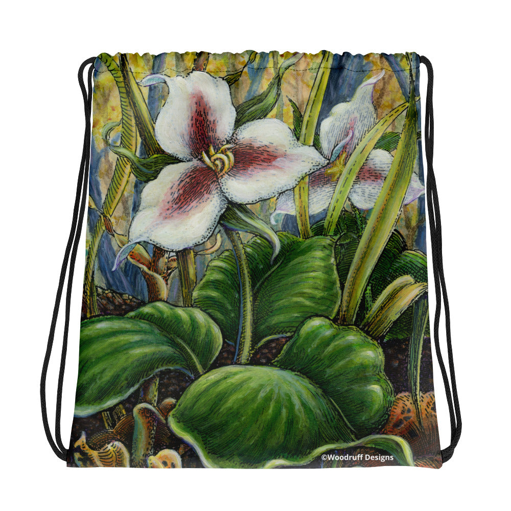 """Trillium"" Drawstring bag - Shop Woodruff Designs"