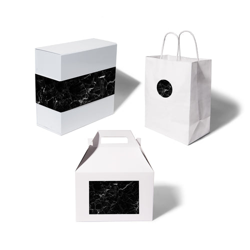 giftwell black marble brand sticker all package options