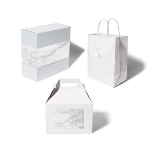 giftwell white marble brand sticker all package options
