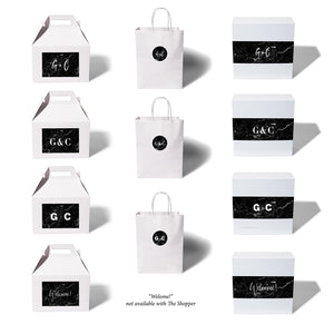 giftwell black marble brand sticker all package all monogram options