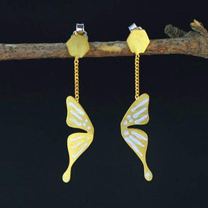 Fly Butterfly Drop Earrings - LUSTROUSOLOGY