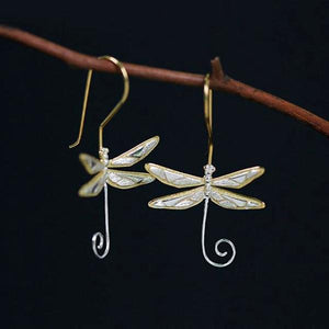 Dragonfly Drop Earrings - LUSTROUSOLOGY