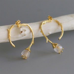 Delicate Carved Flower Drop Earrings - LUSTROUSOLOGY