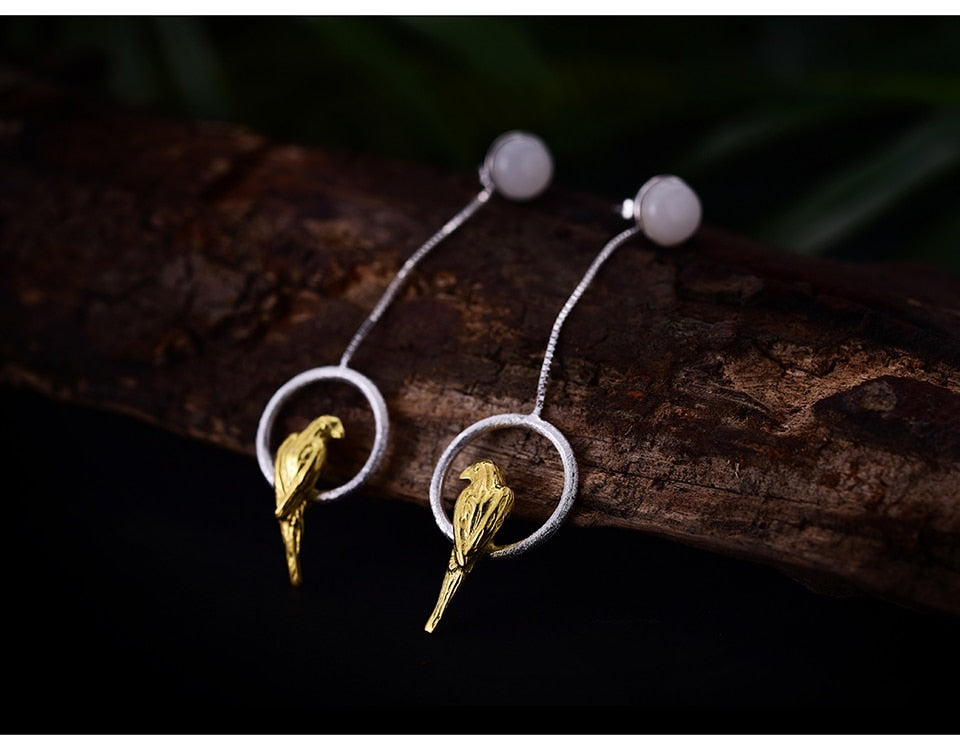 Two Elegant Parrots Drop Earrings - LUSTROUSOLOGY