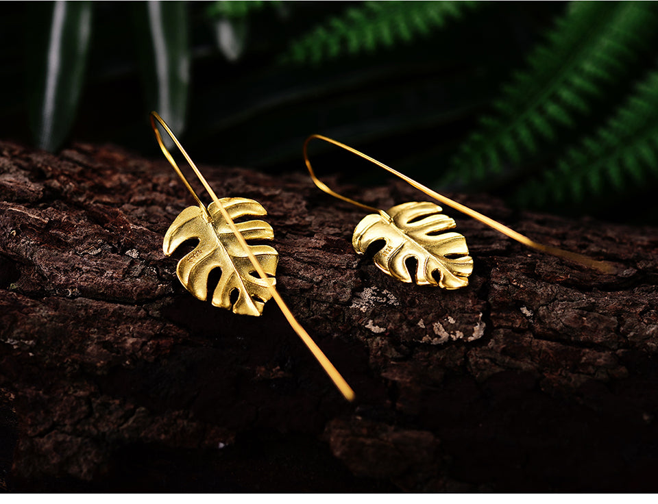 Monstera Leaves Dangle Earrings - LUSTROUSOLOGY