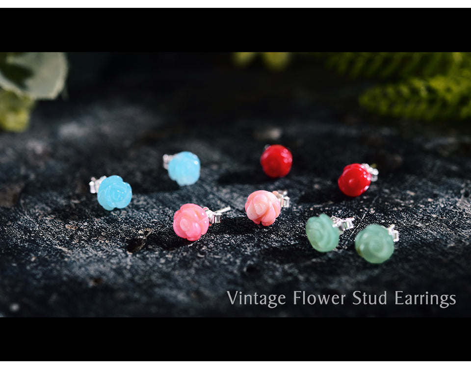 Vintage Rose Flower Stud Earrings - LUSTROUSOLOGY