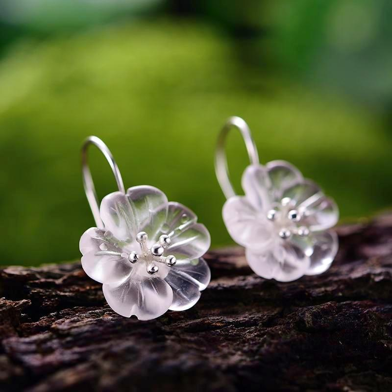 Flower in the Rain Drop Earrings - LUSTROUSOLOGY