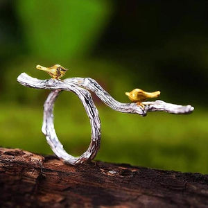 Birds on The Branch Adjustable Ring - LUSTROUSOLOGY