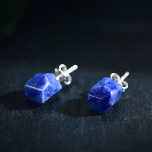Simple Natural Stone Stud Earrings - LUSTROUSOLOGY