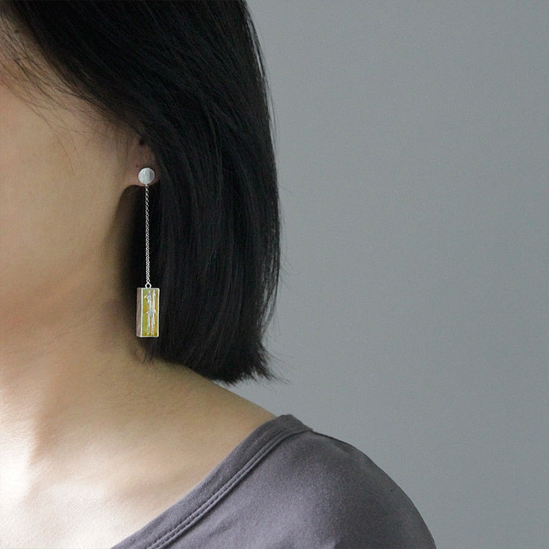 Bamboo in The Box Dangle Earrings - LUSTROUSOLOGY