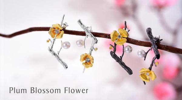 Plum Blossom Flower Dangle Earrings - LUSTROUSOLOGY