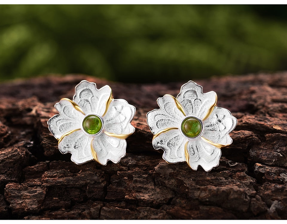 Peony Flower Stud Earrings - LUSTROUSOLOGY