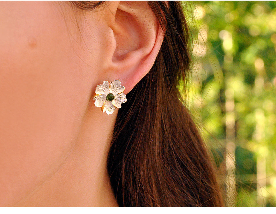 Peony Flower Stud Earrings