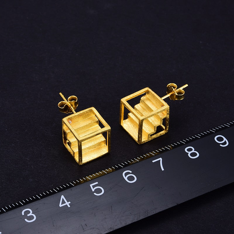 Architectural Creative Stairs Stud Earrings - LUSTROUSOLOGY