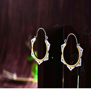 Minimalist Lotus Flower Hoop Earrings - LUSTROUSOLOGY