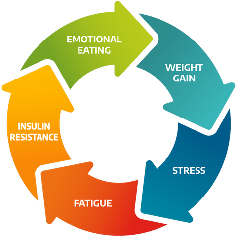 cycle chart, arrows that say emotional eating leads to weight gain, which leads to stress, which leads to fatigue, which leads to insulin resistance, which leads to emotional eating.