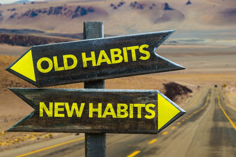 two road signs, old habits and new habits, image