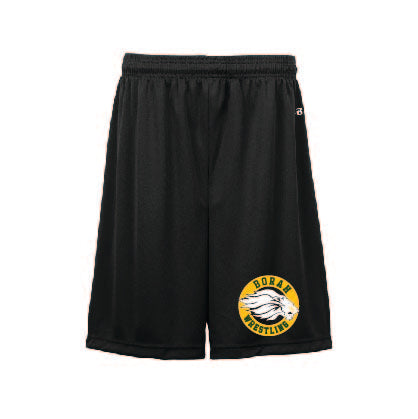 Poly 7 inch Wrestling Shorts Black