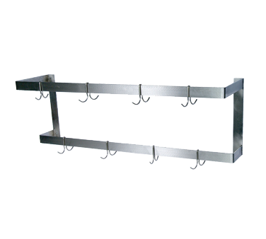 "BK Resources Pot Rack Wall Mount, Double Bar, 48""W x 12""D,  Stainless Steel"
