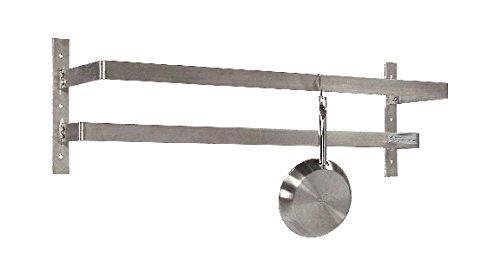 "Tarrison WPR96 Stainless Steel Wall Mount Pot Rack with 16 Hooks, 96"" Length x 12"" Height x 10-1/2"" Depth"